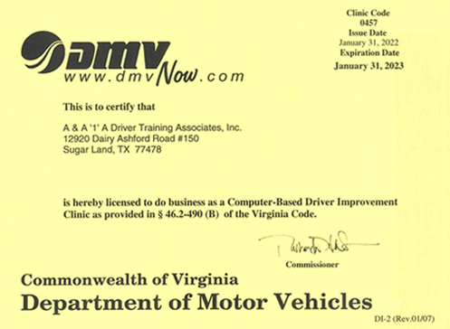 Approval Certificate for Driver Improvement Course